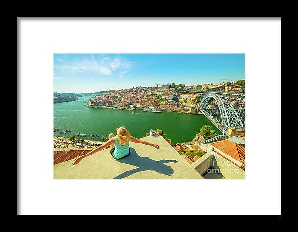 Porto Framed Print featuring the photograph Freedom Woman At Douro River by Benny Marty
