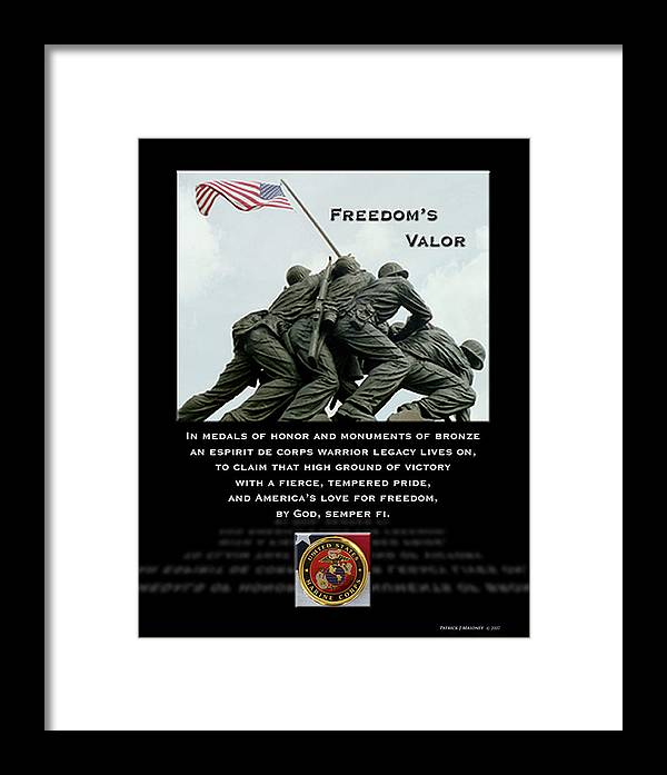 Poetry Framed Print featuring the mixed media Freedom's Valor II by Patrick J Maloney