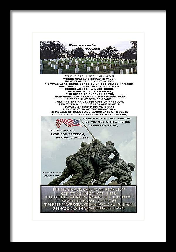 Poetry Framed Print featuring the mixed media Freedom's Valor by Patrick J Maloney