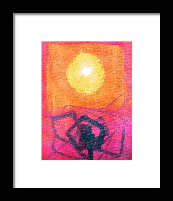 Abstract Yellow Orange Red Black Brush Strokes Enlightened Emotions Free Framed Print featuring the painting Freeing The Tangled Mind by Jennifer Baird