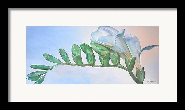 Floral Painting Framed Print featuring the painting Freesia by Muriel Dolemieux