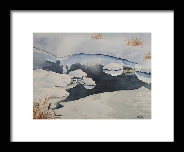 Winter Framed Print featuring the painting Freeze Up by Debbie Homewood