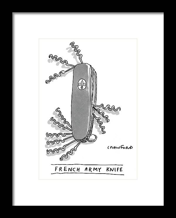 Swiss Army Knife Framed Print featuring the drawing French Army Knife by Michael Crawford