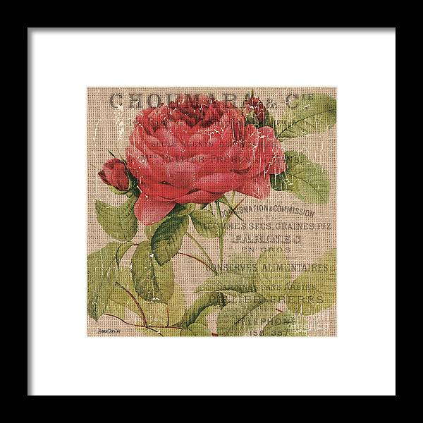 Floral Framed Print featuring the painting French Burlap Floral 1 by Debbie DeWitt
