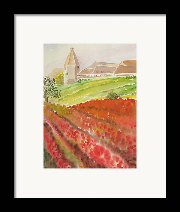 Landscape Framed Print featuring the painting French Fields by Kathy Mitchell