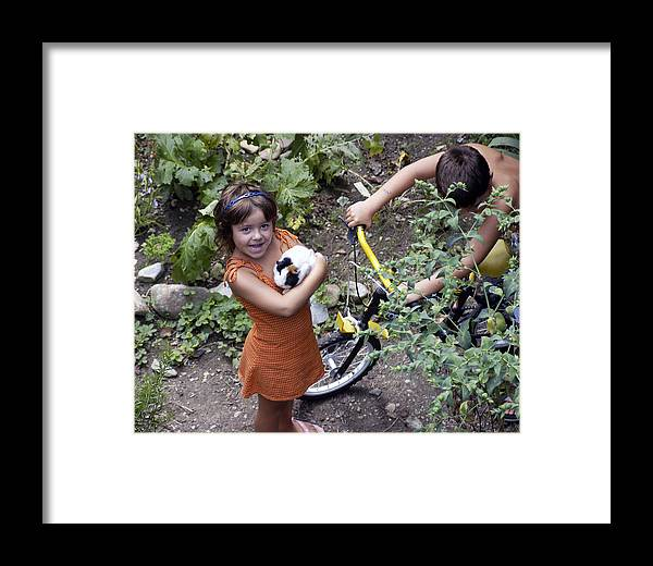 Photo Framed Print featuring the photograph French Jeune Fille With Guinea Pig by Mirinda Kossoff