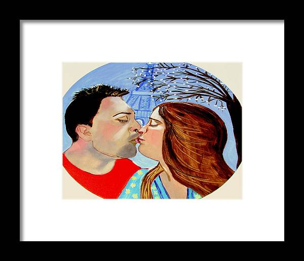 France Framed Print featuring the painting French Kissing At The Eiffel Tower by Rusty Gladdish