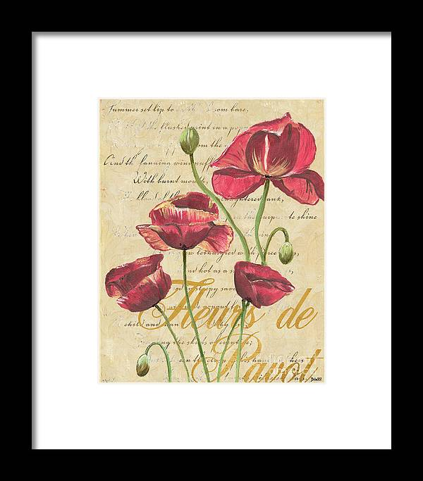 French Framed Print featuring the painting French Pink Poppies by Debbie DeWitt