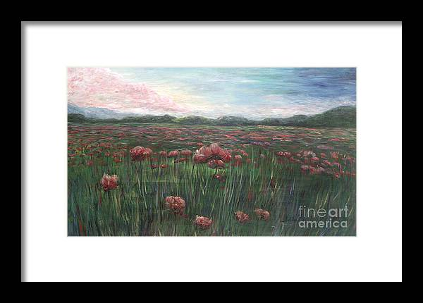 France Framed Print featuring the painting French Poppies by Nadine Rippelmeyer