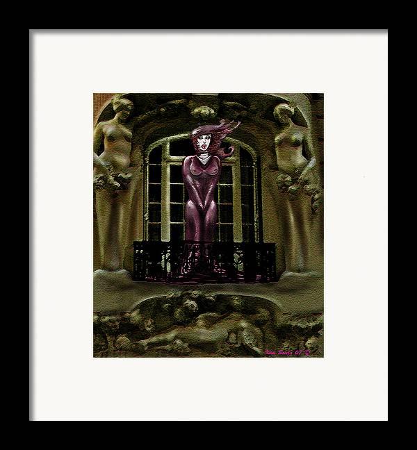 Vampires Framed Print featuring the digital art French Quarter Vamp by Kim Souza