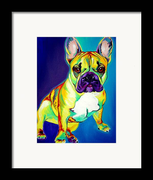 Dog Framed Print featuring the painting Frenchie - Tugboat by Alicia VanNoy Call