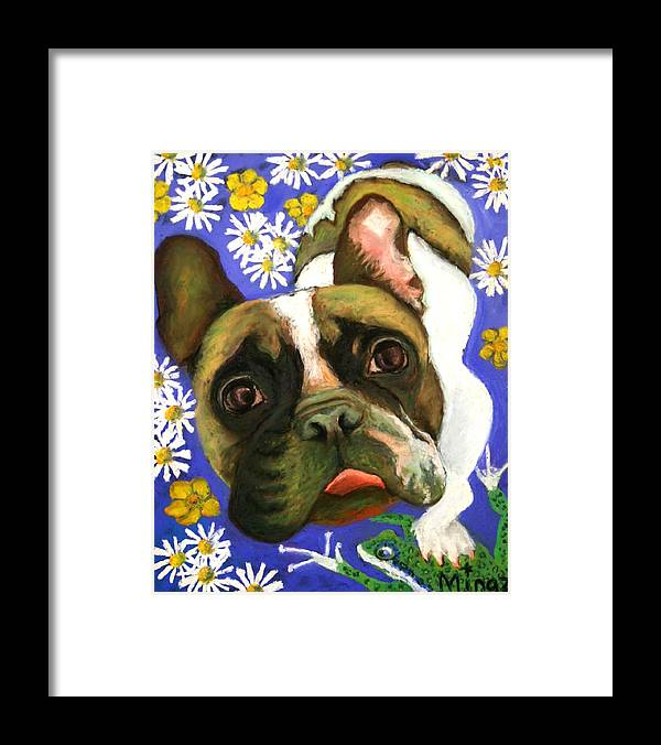 Pet Portrait Framed Print featuring the painting Frenchie Plays With Frogs by Minaz Jantz