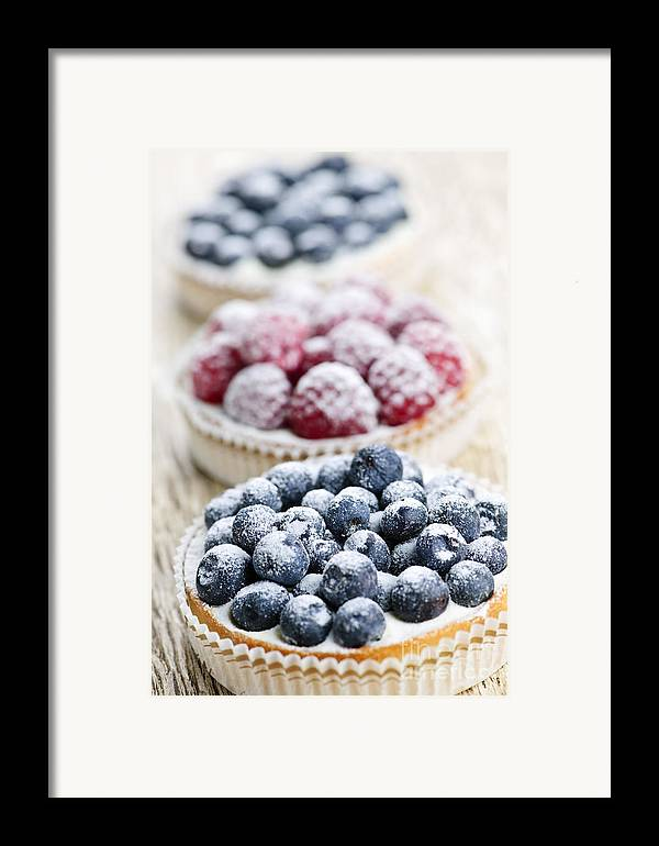 Fruit Framed Print featuring the photograph Fresh Berry Tarts by Elena Elisseeva