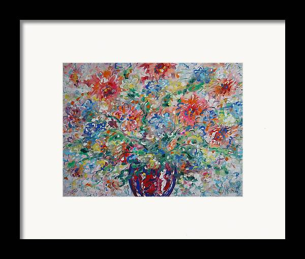 Flowers Framed Print featuring the painting Fresh Bouquet by Leonard Holland