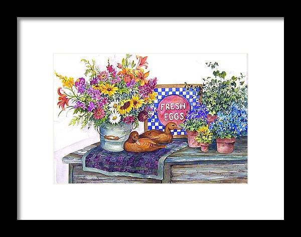 Watercolor;ducks;decoys;floral;mixed Bouquet;potted Plants;checkerboard;quilt; Framed Print featuring the painting Fresh Eggs by Lois Mountz