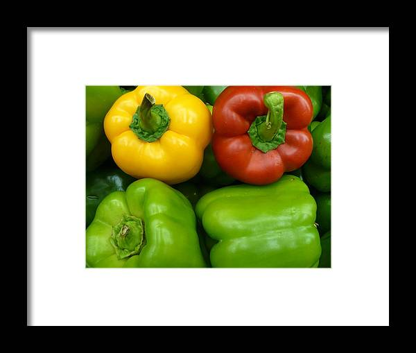 Vegetable Framed Print featuring the photograph Fresh Peppers II by Florene Welebny