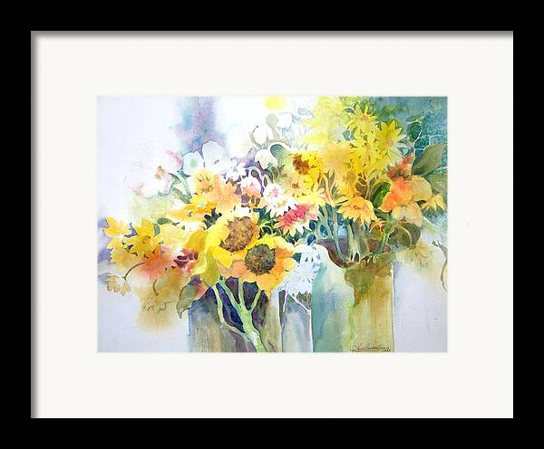 Contemporary;watercolor;sunflowers;daisies;floral; Framed Print featuring the painting Fresh-picked by Lois Mountz