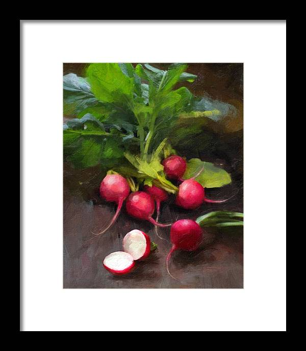 Radishes Framed Print featuring the painting Fresh Radishes by Robert Papp
