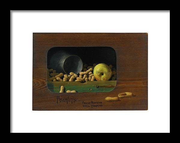 John Frederick Peto 1854 - 1907 Peanuts�fresh Roasted Framed Print featuring the painting Fresh Roasted by John Frederick