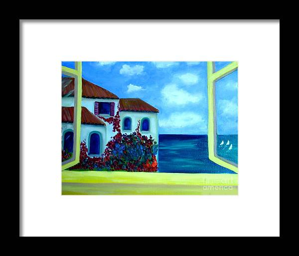 Seascape Framed Print featuring the painting Fresh Sea Air by Laurie Morgan