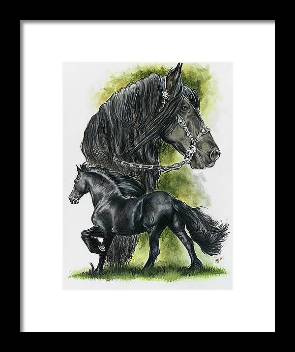 Horse Framed Print featuring the mixed media Friesian by Barbara Keith