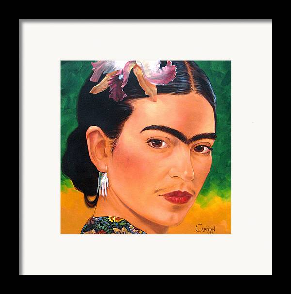 Frida Kahlo Framed Print featuring the painting Frida Kahlo 2003 by Jerrold Carton