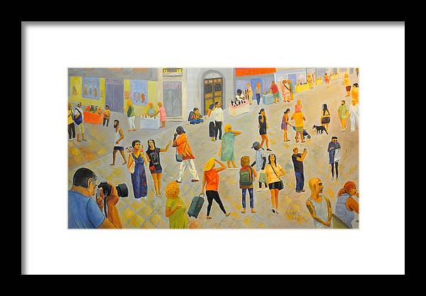 People Framed Print featuring the painting Friday In Tel Aviv by Asher Topel