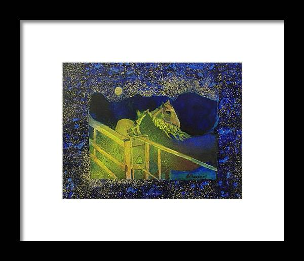 Horses Framed Print featuring the painting Friday Night by Helen Musser
