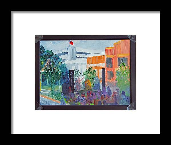 Cityscape Framed Print featuring the painting Friday Night With Ms Peggy Columbus Ga by James Eugene Moore