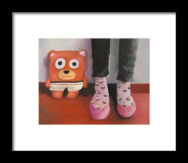 Bear Framed Print featuring the painting Friends 3 by Anastassia Neislotova