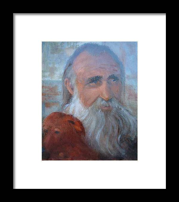 Man With His Dog Framed Print featuring the painting Friends by Bryan Alexander