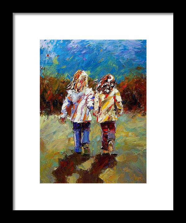 Girls Framed Print featuring the painting Friends Forever by Debra Hurd