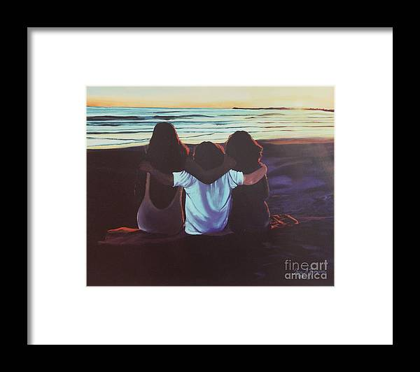 Girls Framed Print featuring the painting Friends Forever by Terri Thompson