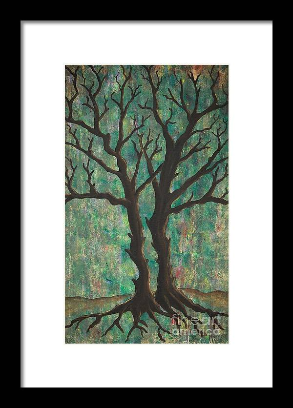 Trees Framed Print featuring the painting Friends by Jacqueline Athmann