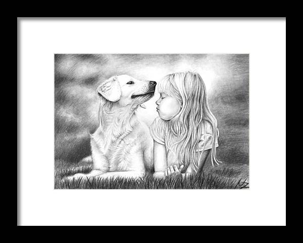 Dog Framed Print featuring the drawing Friends by Nicole Zeug