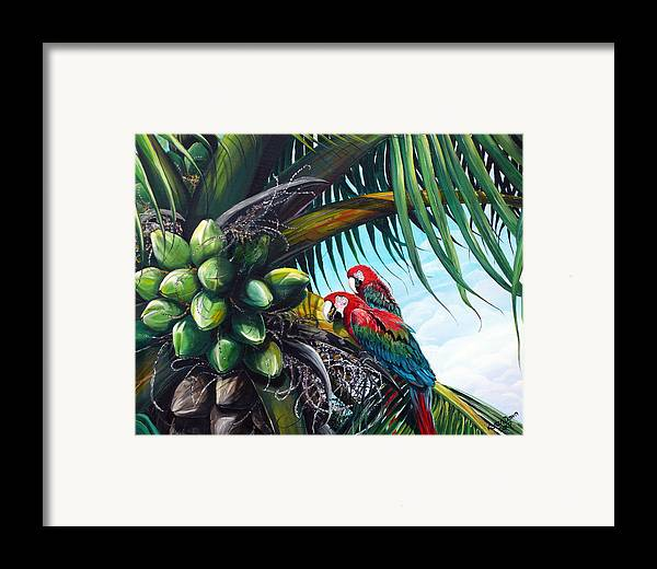 Macaws Bird Painting Coconut Palm Tree Painting Parrots Caribbean Painting Tropical Painting Coconuts Painting Palm Tree Greeting Card Painting Framed Print featuring the painting Friends Of A Feather by Karin Dawn Kelshall- Best