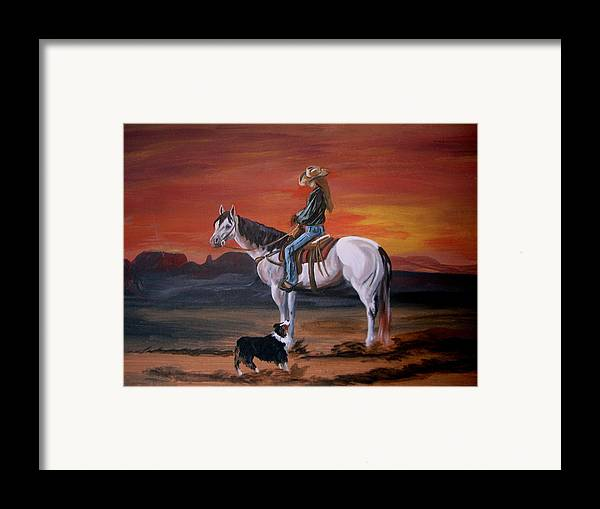 Desert Framed Print featuring the painting Friends Sharing A Sunset by Glenda Smith