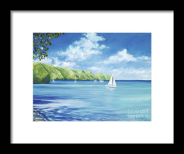 Nautical Seascape Framed Print featuring the painting Friendship Bay by Danielle Perry
