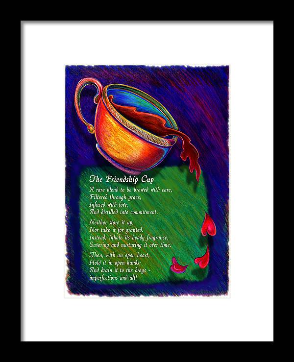 Coffee Framed Print featuring the drawing Friendship Cup by Anne Nye