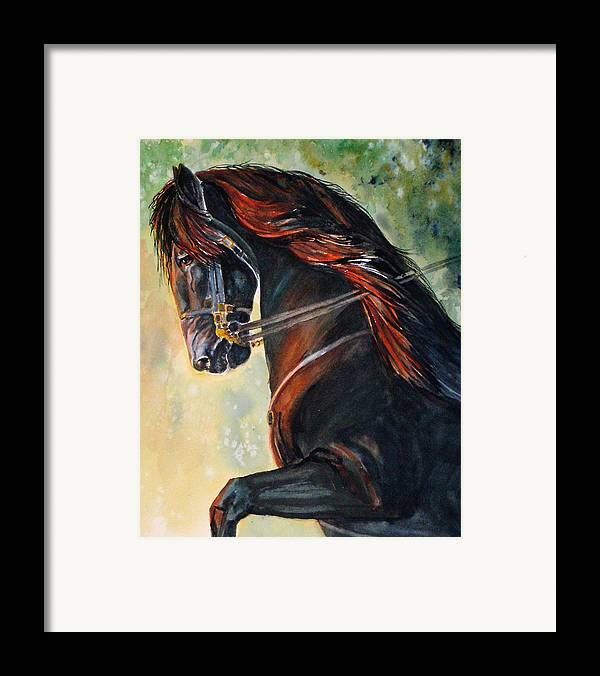 Equine Framed Print featuring the painting Friesian Sunset by Gina Hall