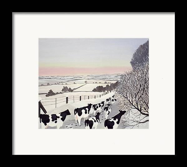 Fence; Cow; Cows; Landscape; Winter; Snow; Tree; Trees; Friesians; Animal; Farm Animal Framed Print featuring the painting Friesians In Winter by Maggie Rowe