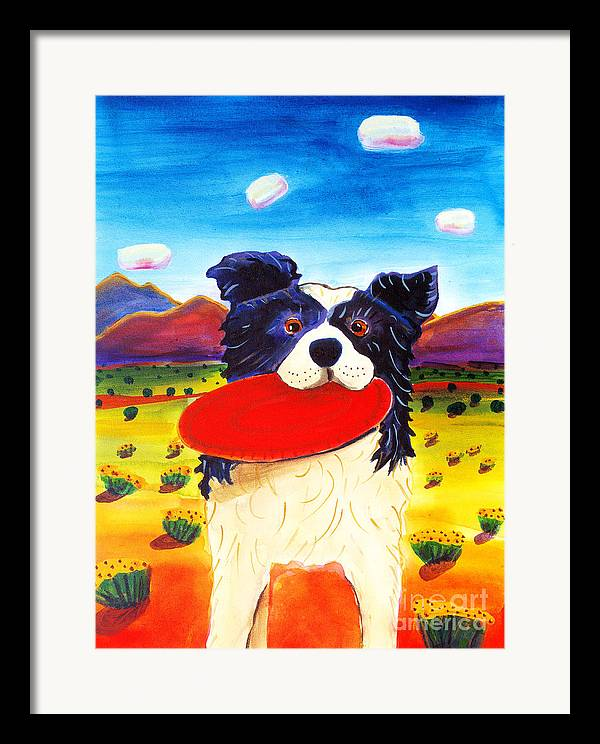 Dog Framed Print featuring the painting Frisbee Dog by Harriet Peck Taylor