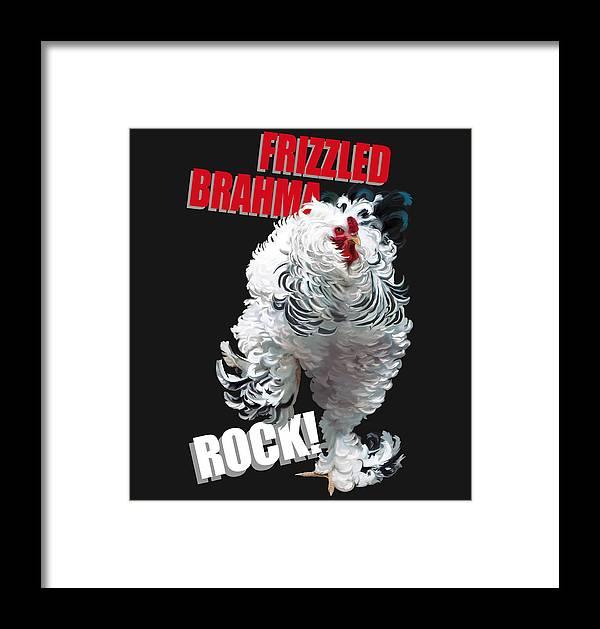 Frizzled Brahma Light Brahma Framed Print featuring the digital art Frizzled Brahma T-shirt Print by Sigrid Van Dort
