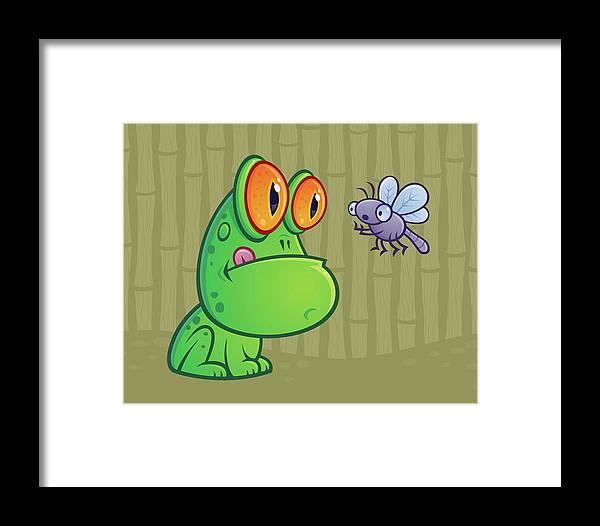 Frog Framed Print featuring the digital art Frog And Dragonfly by John Schwegel