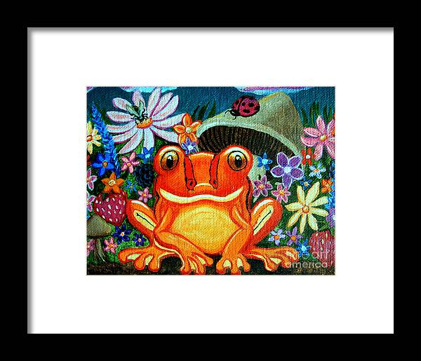Frogs Framed Print featuring the painting Frog And Flowers by Nick Gustafson