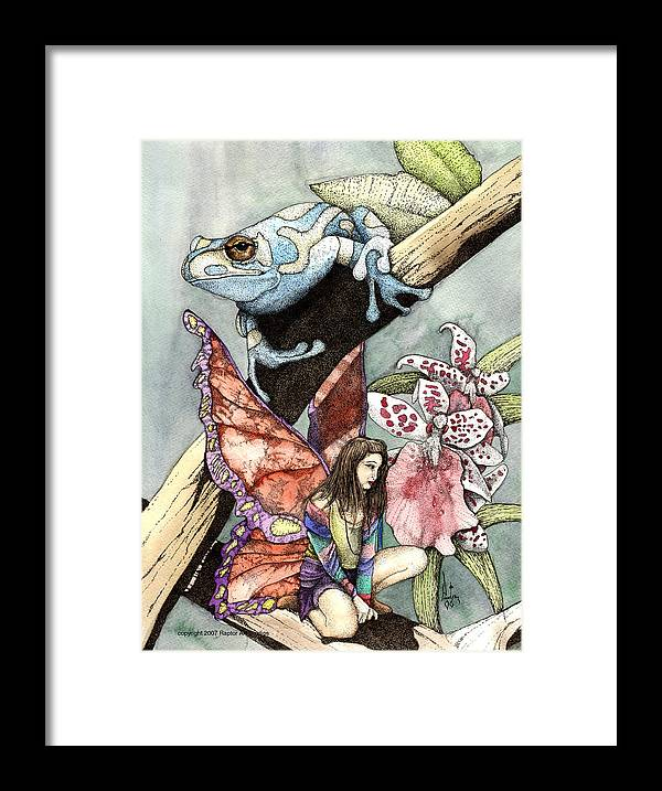 Fairy Faery Dragons Demon Fantasy Art Amy Brown Wizards Magic Pagen Framed Print featuring the mixed media Frog Flowers And A Fairy by Preston Shupp