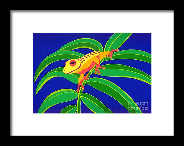Nature Framed Print featuring the drawing Frog On Branch by Lucyna A M Green