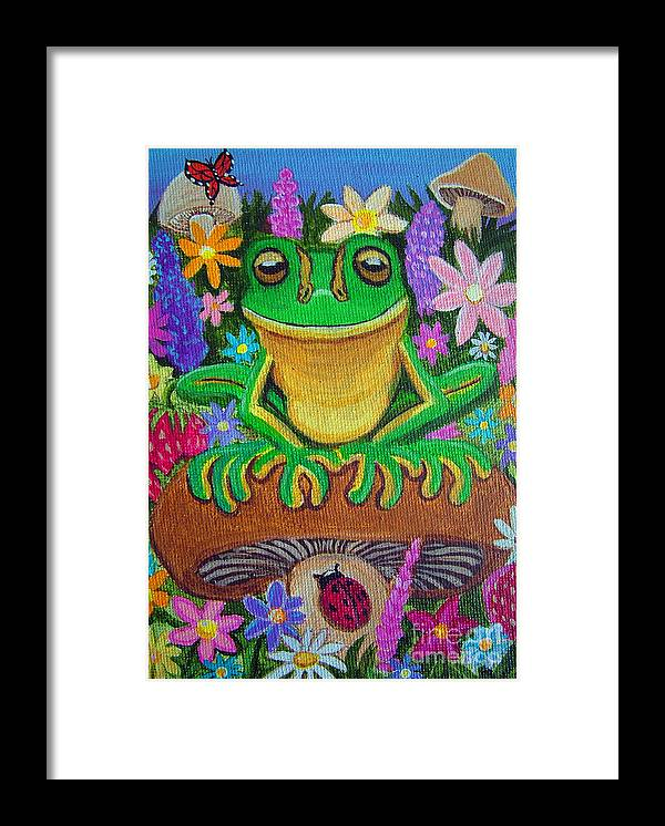 Frog Artwork Frog Painting Whimsical Artwork Green Frogs Framed Print featuring the painting Frog On Mushroom by Nick Gustafson