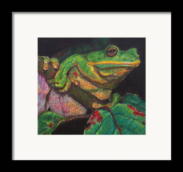 Frog Framed Print featuring the painting Froggie by Karen Ilari