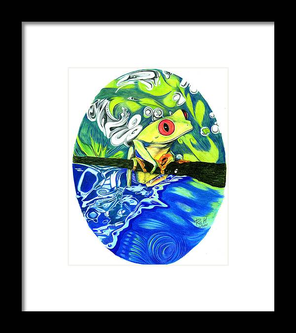 Frog Framed Print featuring the drawing Froggy by James Hammons
